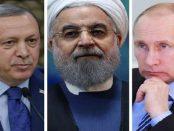 حسن روحانی، ولادیمیر پوتین و رجب طیب اردوغان